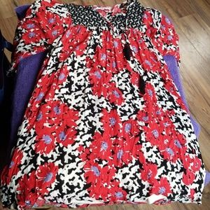 Black and White Dress with Red and Purple flowers